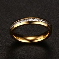 Titanium Round Cut White Sapphire Gold Promise Rings For ...