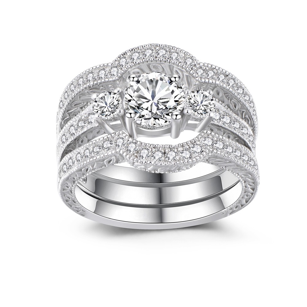Classic Round Cut White Sapphire 925 Sterling Silver Womens Wedding Ring Set  Lajerrio Jewelry