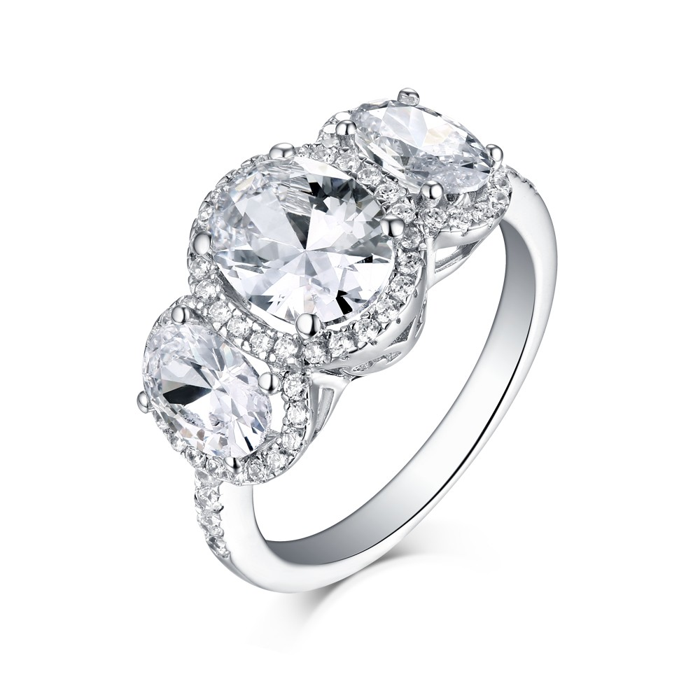 Oval Cut White Sapphire 925 Sterling Silver Three Stone