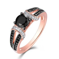 Round Cut Black & White Sapphire Rose Gold S925 Engagement ...
