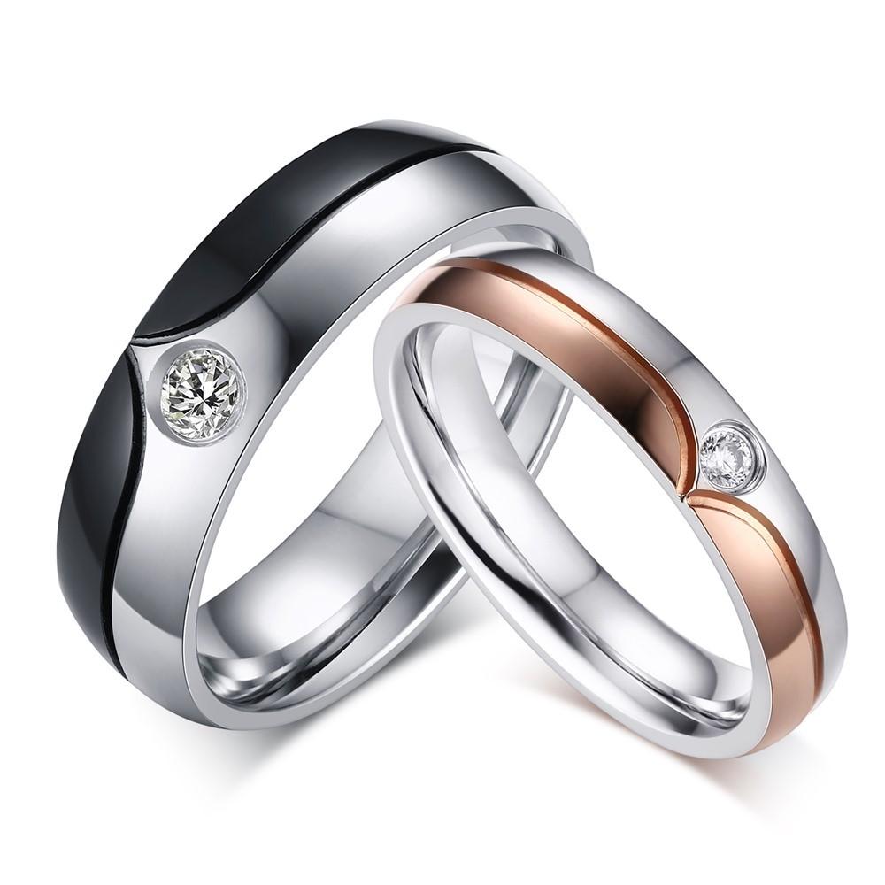 Round Cut Gemstone Titanium Steel Promise Ring for Couples
