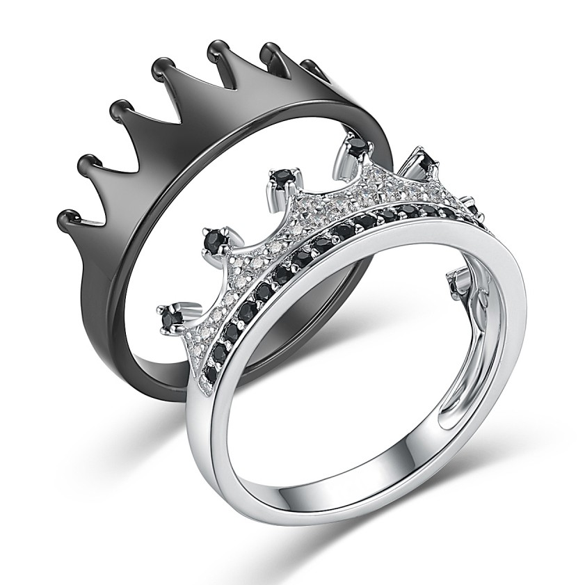 His Queen Her King Crown Black And Silver 925 Sterling