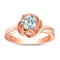 Round Cut White Sapphire Sterling Silver Rose Gold Promise ...