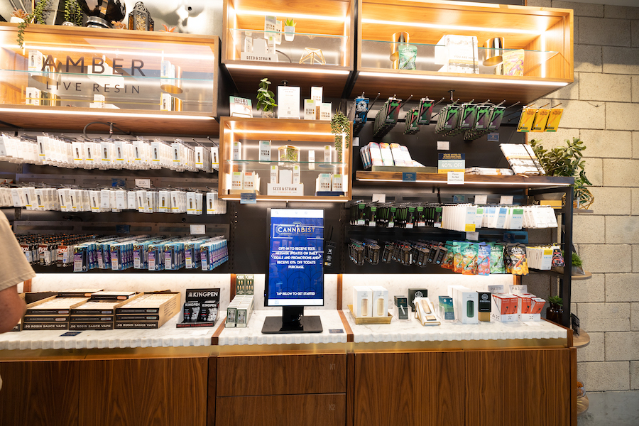 Display shelves at a San Diego dispensary