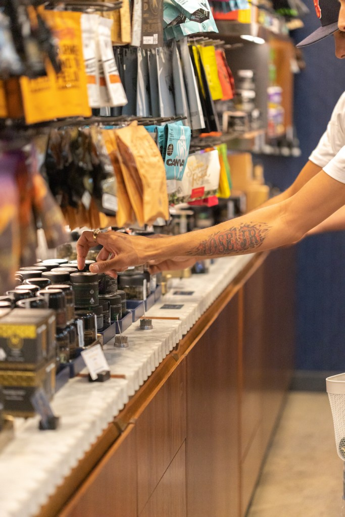 A customer shops at a dispensary in San Diego