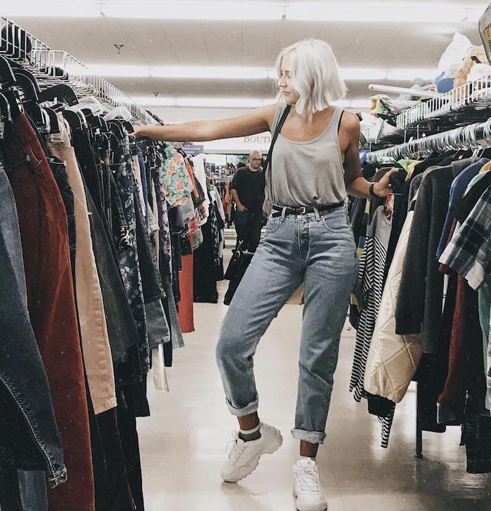 Girl thrift shopping in San Diego