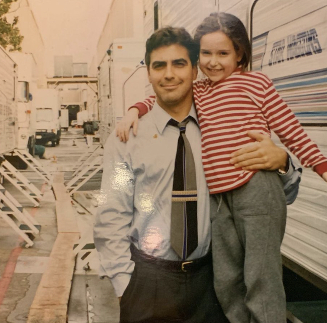 Milana Vayntrub with George Clooney - both young