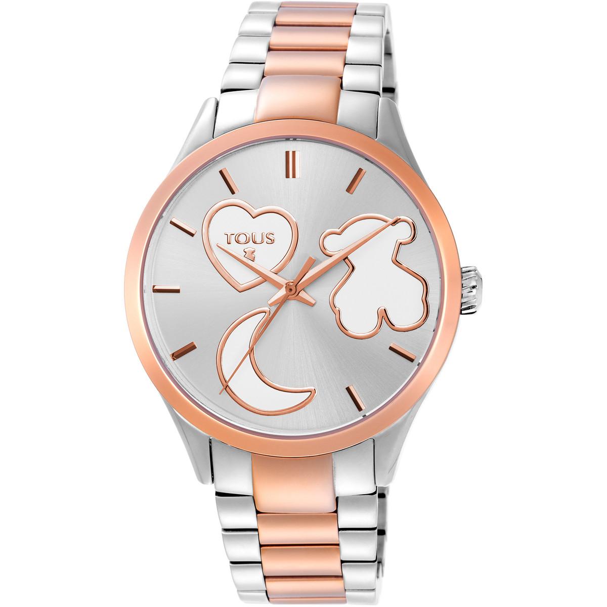 Reloj Tous para mujer Bicolor Rf-800350800 Reloj Tous para mujer Bicolor Rf-800350800 con cadena de acero inoxidable combinada en color plata y color rosado. Diámetro de la esfera 37 mm, resistente al agua hasta 5 Atm y cristal mineral. Posee movimiento de cuarzo y cierre de mariposa con pulsadores. Joyería la Joyita es distribuidor oficial de la marca TOUS y todos los relojes se servirán con su caja y garantia oficial.