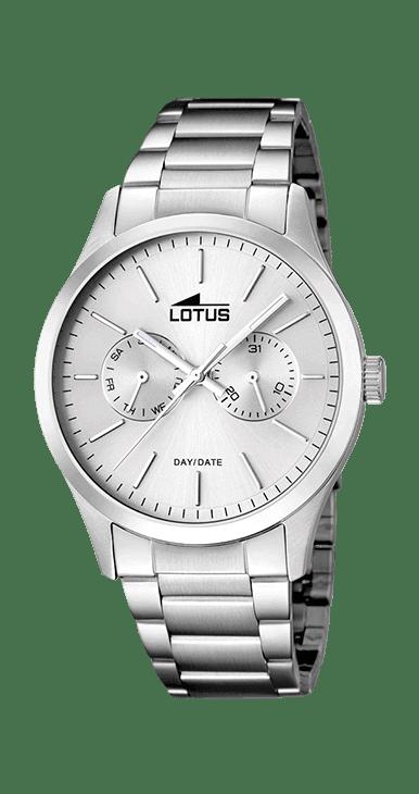 Reloj lotus hombre multifunción de acero esfera gris y numeros en color acero