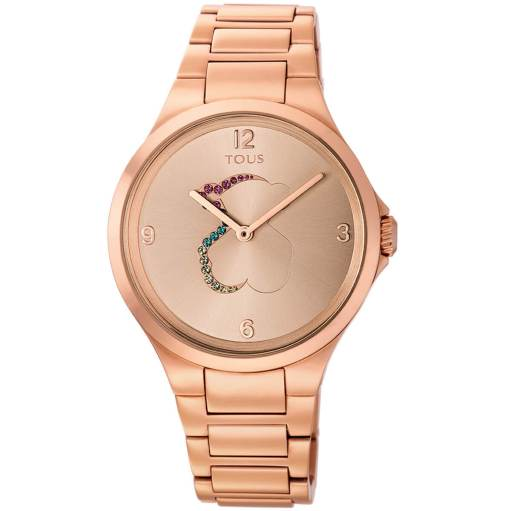 Reloj tous con cadena de eslabones en color rosa y piedras de colores dentro de la esfera