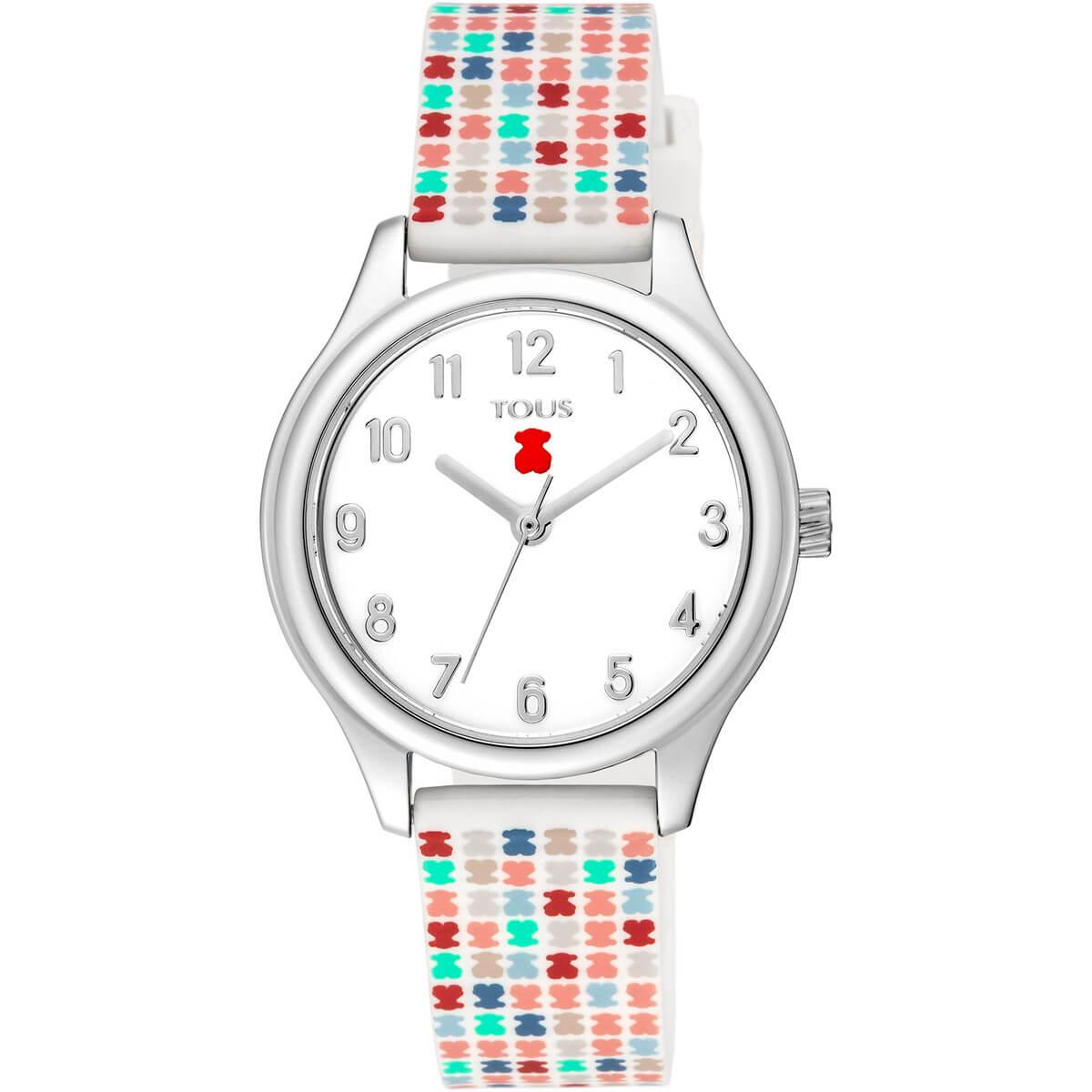 Reloj Tous niña con correa de caucho estampada con ositos de colores. Fondo de la esfera color blanco con los numeros y las agujas en color plateado