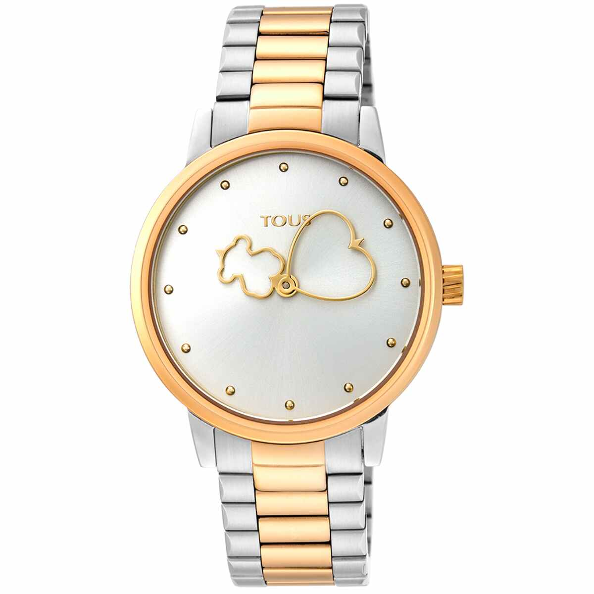 Reloj mujer tous con cadena y esfera en acero bicolor con agujas en forma de oso y corazón