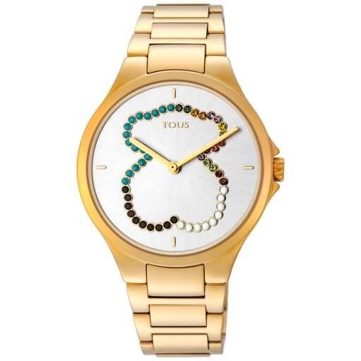 Reloj Tous dorado con piedras de colores en la esfera formando la forma de un oso
