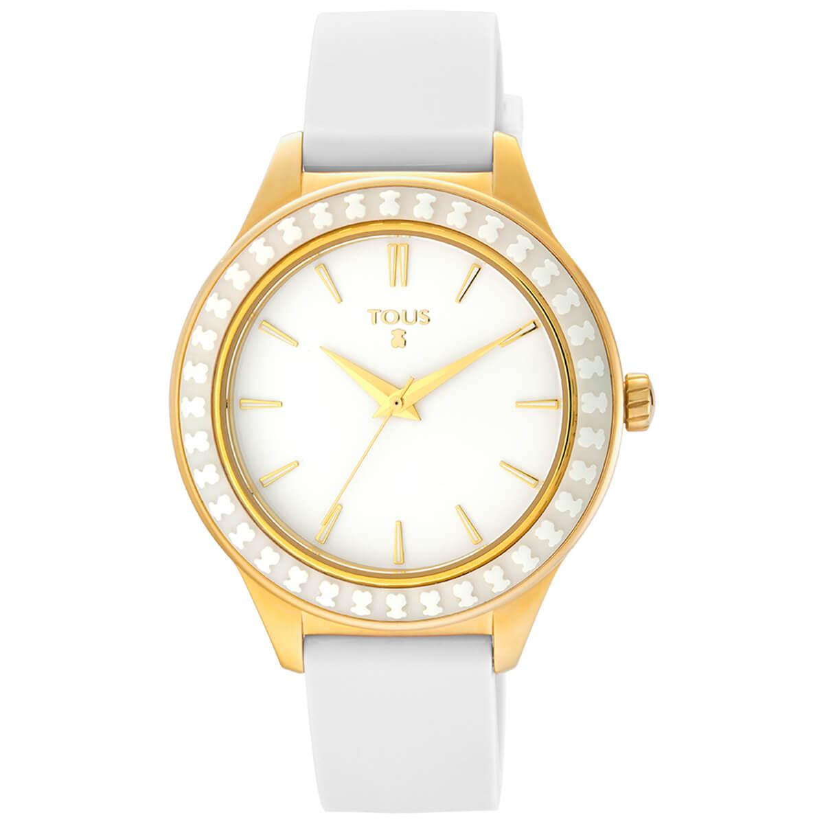 Reloj tous mujer con correa de caucho blanca , caja dorada con bisel ceramico con el oso grabado.
