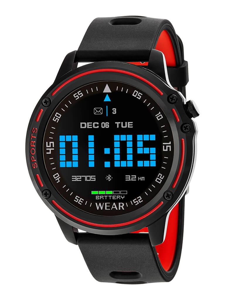 Reloj inteligente hombre color rojo y negro