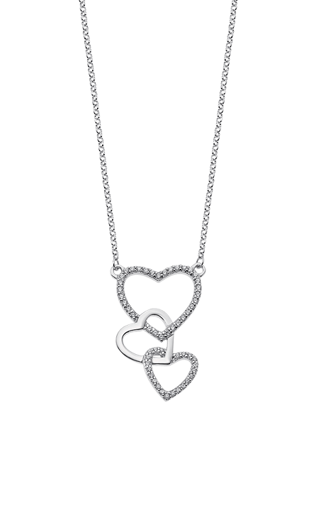 Collar plata combinado con dos corazones acabado con circonitas y otro acabado en brillo