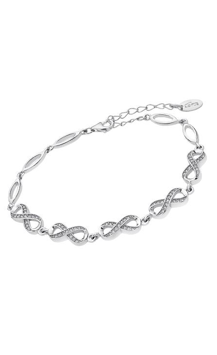 Pulsera plata con eslabones con forma de infinito cuajados de circonitas