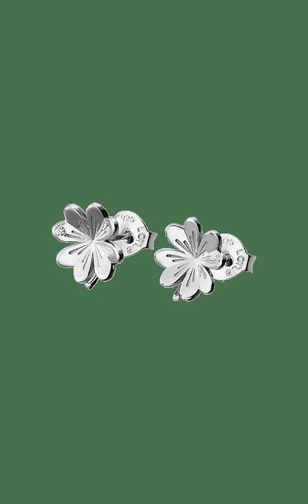 Pendientes de plata con forma de flor y cierre de presíon