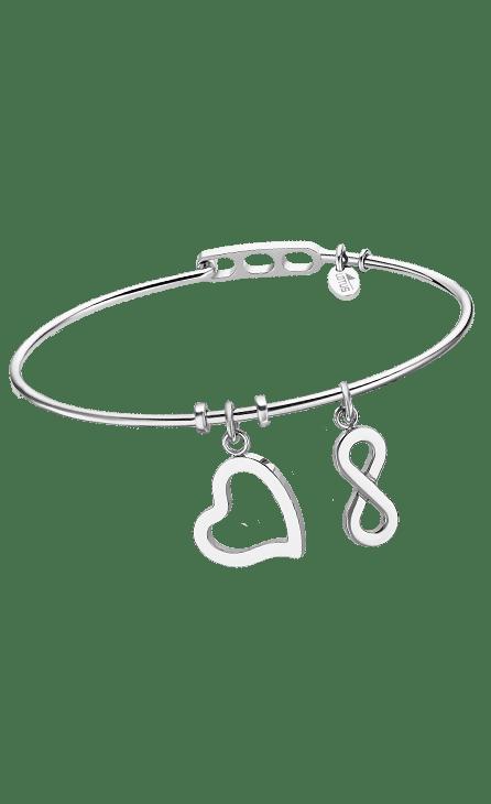 Pulsera mujer acero con forma de brazalete con un corazón y un infinito colgando.
