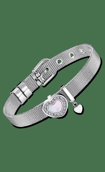 pulsera mujer acero con cadena de malla y corazón en la cadena con el centro de nacar redeado de circonitas.