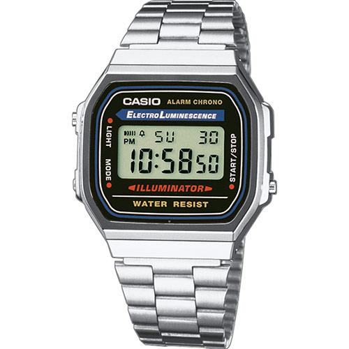 Reloj Casio digital A168WA-1YES color plata. Diseño atemporal, lineal y confiable - así se ve el reloj perfecto para los amantes de los relojes de época clásica, que no solo se preocupan por la apariencia, sino también por los valores internos. La correa de acero, la caja de resina y su aspecto digital demuestran y definen el carácter de este reloj.