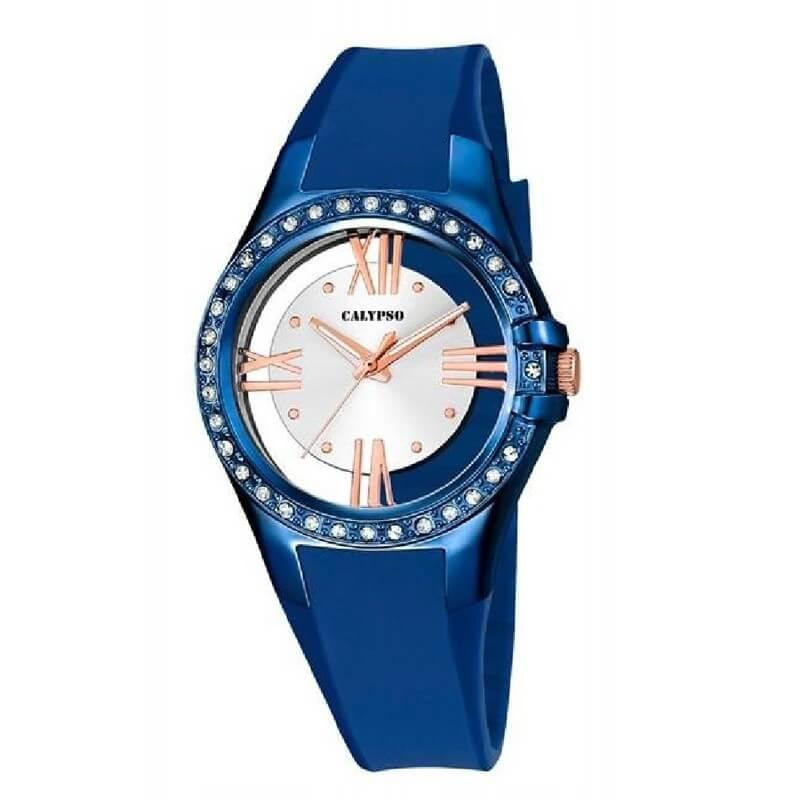 Reloj calypso K5680/5 deportivo , ideal para que te acompañe en el día a día. Resistente al agua hasta 100 metros. Fondo de la esfera trasparente con el centro en color plata y los números en color rosa. Un todo terreno que viene de la mano del grupo LOTUS-FESTINA