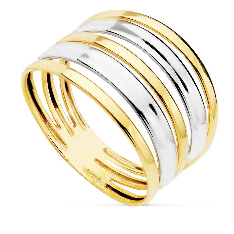 Anillo oro bicolor bandas SO1/14388 18 Kte. Preciosa sortija que fusiona a la perfección la magia del oro blanco con la elegancia del oro amarillo. Todos nuestro árticulos de joyería vienen debidamente contrastados por los más prestigiosos laboratorios de metales preciosos Españoles.