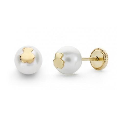 Pendiente niña oro perla cultivada con osito 6 mm PbO/LJ con cierre de rosca para mayor comodidad del bebe.