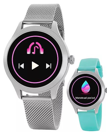 Reloj Smartwatch Marea B59005/3 para Mujer. Nuevo modelo de la colección Smartwatch de marea. Con una panatalla de 1.09 pulgadas, bateria de 180 mAh ( tres días de uso normal y 8 días en standby). Tamaño de la esfera de 38 mm y una impermeabilidad IP68. El reloj cuenta con dos correas, una de caucho rosa y otra de acero de malla milanesa acabada en rosa. Puedes leer las instrucciones del reloj AQUÍ Entre las distintas funciones se encuentran: Calorias consumidas Distancia recorrida Paso Establecer meta de paso Monituorización del sueño Frecuencia cardiaca Prueba automática FC Presión sanguínea Oxígeno en sangre Ciclo Menstrual Modo Sport Recordatorio Sedentario y para beber agua Notificación de llamadas Notificaciones RRSS ( Facebook, instagram, etc) Leer mensajes recibidos Alarmas Cronógrafo Impermeable Control remoto música y camara Elegir pantalla de inicio Encontrar reloj.