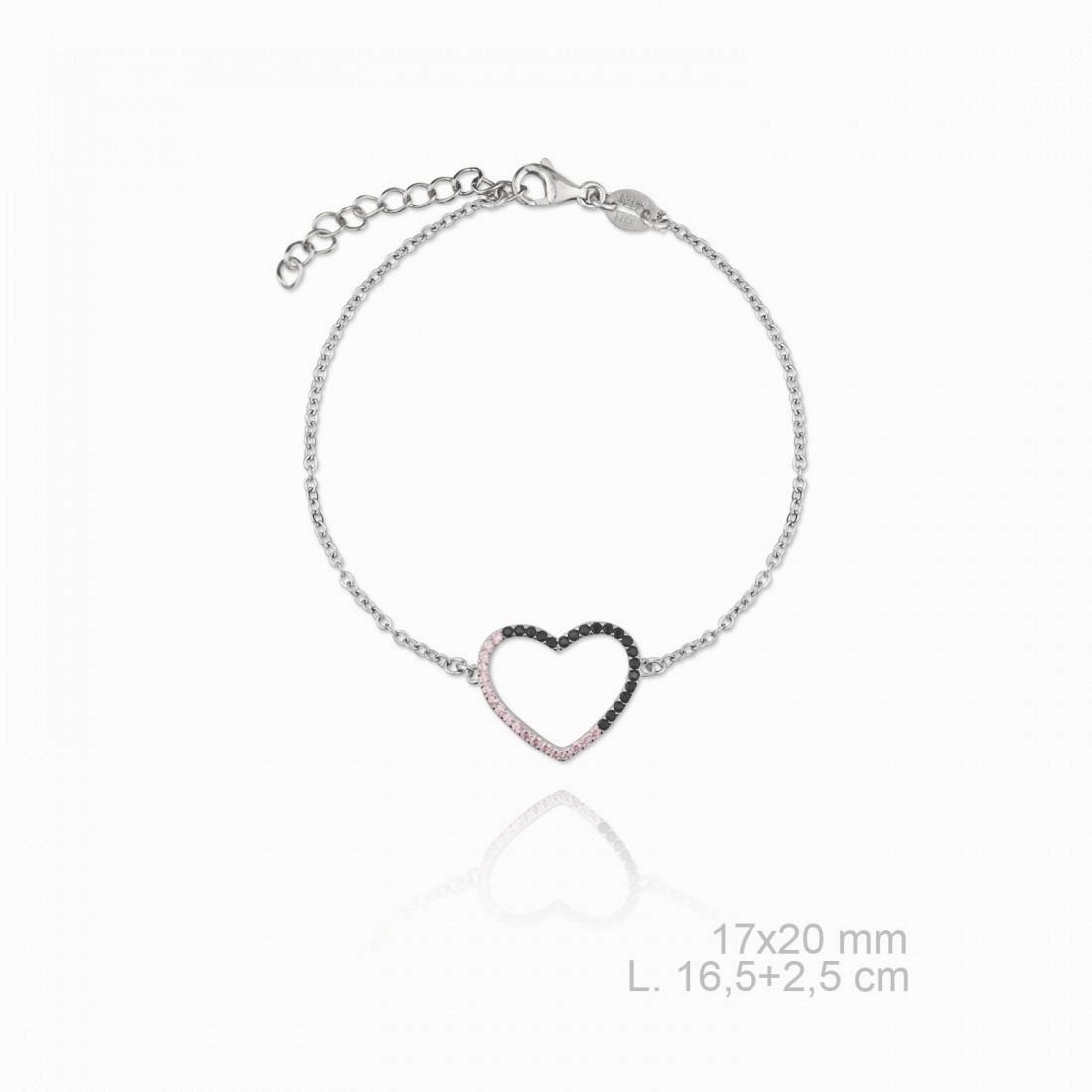 Pulsera Corazon Bicolor NsP/710042 Plata de Ley Pulsera de cadena con corazón al centro cuajado de circonitas rosas y negras. Longitud de la pulsera 16.5 cm más una cadenita de 2.5 cm para poder graduar la medida lo que hace que tenga una longitud total de 19 cm. Diámetro del corazón 17 x 20 mm. La pulsera cuenta con una protección para que no se ensucie a la vez que le confiere una mayor intensidad en el brillo.