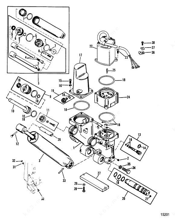 Mercury/Mariner 100 4 Cyl., Power Trim Components Three