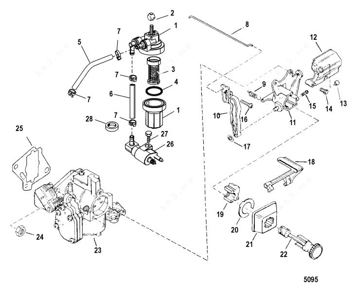 Mercury/Mariner 15 Marathon Xd, Fuel System Components