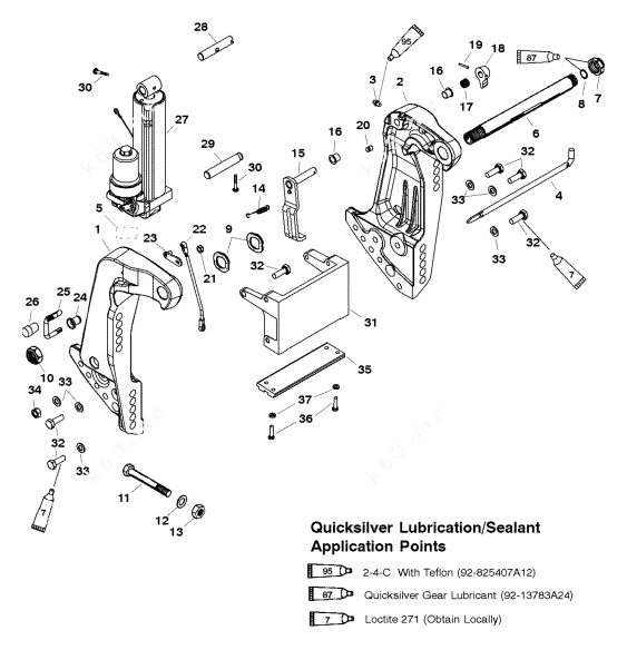 Mercury/Mariner 75 3 Cyl., Transom Bracket Manual Tilt