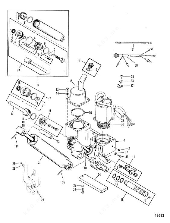 Mercury/Mariner V-175 Mag/EFI, Power Trim Components