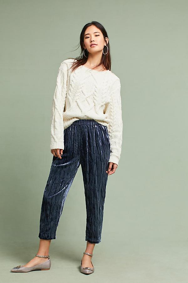 Velvet cropped pants for thanksgiving dinner
