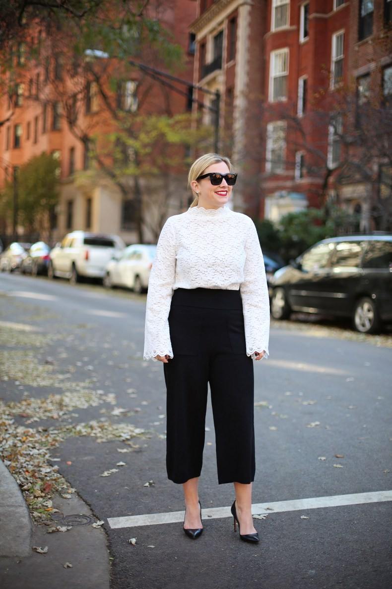 Lace Top and Comfy pants for holiday party
