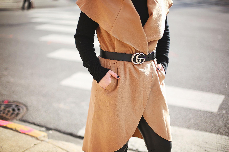 Gucci belt and camel vest