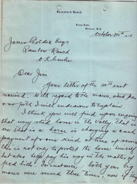 Letter from George C. Goulding, p1