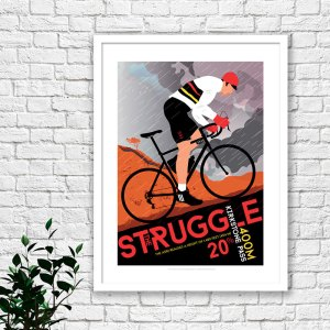 Lake district art print of a man cycling up Kirkstone Pass, which is a mountain pass in the English Lake District, in the county of Cumbria.