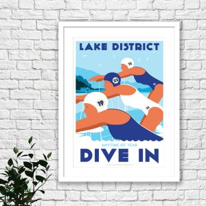 Lake district art print by Johnny Walker showing female swimmers, wild swimming in the lakes.