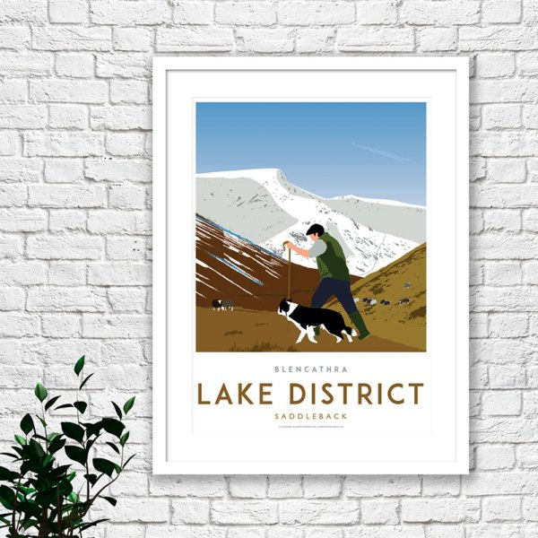 Lake District art print of a shepard walking his dog up Blencathra hills, also known as Saddleback.