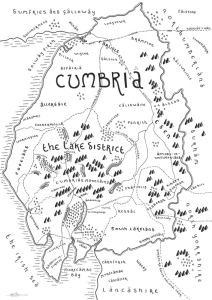 Black and white J. R. R. Tolkien style map of Cumbria, home to the beautiful Lake District. Design by Dan Bell, from Middle Earth Maps