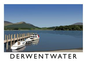 Colourful digital art print by Richard O'Neill, showing Derwentwater in the Lake Districts and a line of boats by the lake.