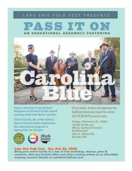 """Flyer for """"Pass It On,"""" a presentation by Carolina Blue for K-12 students at 10 a.m. on Friday, Feb 21."""