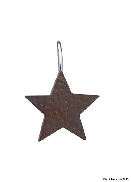 Star Shower Curtain Hooks - Red - Lake Erie Gifts & Decor