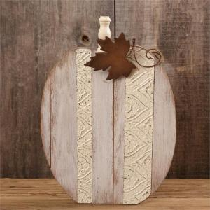 White Wooden Pumpkin with rusty leaf