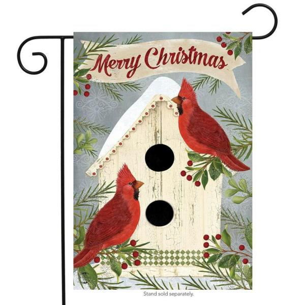 Christmas Cardinal Birdhouse Garden Flag
