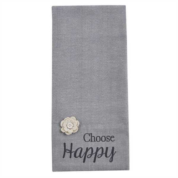 Choose Happy Embroidered Dishtowel