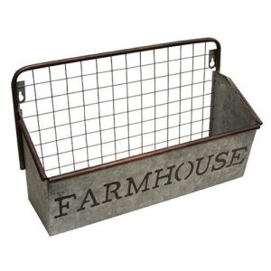Farmhouse Galvanized Wall Basket