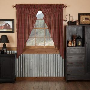 Tartan Red Plaid Prairie Curtain